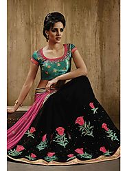 VINTAGE FLAVOUR 9024:- Black Georgette Saree With Skirt In Multi Colour Thread Work And Pallu In Fuchsia Georgette. B...