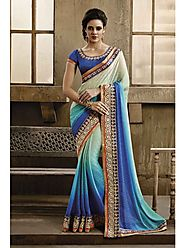 VINTAGE FLAVOUR 9026:- Blue Shaded Saree With Fabric In Self Jacquard.Blouse In Blue Dupion With Embroidery At Neck.H...