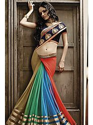 VINTAGE FLAVOUR 9028:- Skrit in 3 Colour Shaded From Green,Blue To Olive.Pallu In Pink Chiffon With Embroidered Butta...