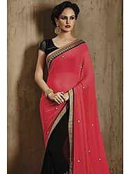 VINTAGE FLAVOUR 9029:- lllustrouse Sequin Working On Skirt Is The Centre Highlight Of This Black Georgette Saree With...