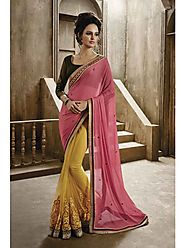 VINTAGE FLAVOUR 9030:- Lemon Net Saree With Pallu In Peachish Pink Chiffon Pallu.Self Embroidery At Bottom With Blous...