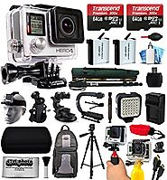 GoPro HERO4 Silver Edition 4K Action Camera with 2x Micro SD Cards, 2x Batteries, Charger, Card Reader, Backpack, Hel...