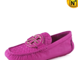Pink Leather Loafers for Women CW300380 - cwmalls.com
