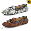 Women's Gommino Zebra Print Leather Moccasins CW314118