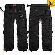 CWMALLS Mens Black Cargo Pants CW100017