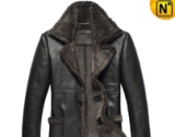 Black Fur Lined Leather Coat CW819436 - cwmalls.com