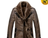 Mens Designer Leather Fur Coat CW819173 - cwmalls.com