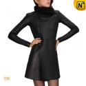 Women Black Leather Fur Coat CW695102 - cwmalls.com
