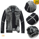 Grey Fur Leather Jacket for Men CW868003