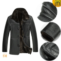 Mens Black Fur Lined Leather Coat CW878574