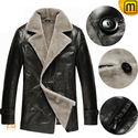 Black Sheepskin Shearling Coat Men CW878418