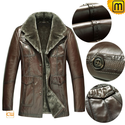 Men Brown Shearling Sheepskin Coat CW868813