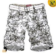 Mens Floral Printed Cargo Shorts
