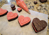 Fudgy Brownie Hearts with Fresh Raspberry Buttercream