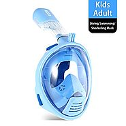 Vangogo 180 Full Face Snorkel Mask Kids and Youth Anti Fog Easy Breath Underwater Snorkel Set Diving and Swimming Mas...