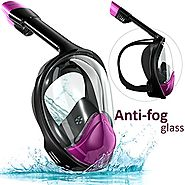 Snorkel Set Full Face Mask, Seaview with Camera Mount Divers Choice Black/Purple.