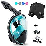 Full Face Snorkel Mask Set, Easy Breath, Anti Fog, Anti Leak Snorkeling Goggles with Removable Cam Mount for Underwat...
