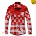 Mens Long Sleeve Plaid Shirt CW1213 - cwmalls.com