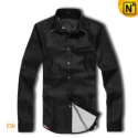 Mens Fashion Black Long Sleeve Shirt CW1255 - cwmalls.com
