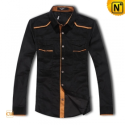 Mens Fashion Black Corduroy Shirt CW1301 - cwmalls.com