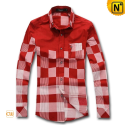 Mens Plaid Long Sleeve Shirt Red CW130022 - cwmalls.com