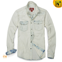 Distressed Denim Shirt for Men CW114357