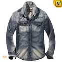 Mens Fitted Acid Wash Denim Shirt CW114312