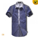 Mens Short Sleeve Striped Shirt CW1237 - cwmalls.com