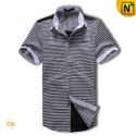 Mens Short Sleeve Striped Shirt CW1242 - cwmalls.com
