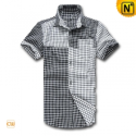 Mens Short Sleeve Plaid Shirt CW1230 - cwmalls.com