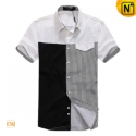 Mens Fashion Matching Design Shirts Short Sleeve CW100323 - cwmalls.com