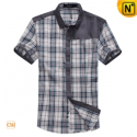 Mens Slim Fit Short Sleeve Plaid Shirts CW100326 - cwmalls.com
