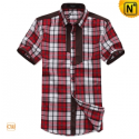Mens Designer Fashion Short Sleeve Plaid Shirts CW100317 - cwmalls.com