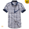 Mens Designer Original Short Sleeve Plaid Shirts CW100313 - cwmalls.com