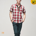 Mens Button Down Plaid Shirts CW100317