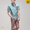 Mens Short Sleeve Button Down Shirt CW100328