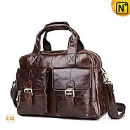 London Mens Brown Leather Tote Bag CW905703