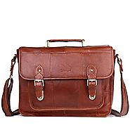 Cwmalls Mens Leather Buckle Messenger Bag CW950700