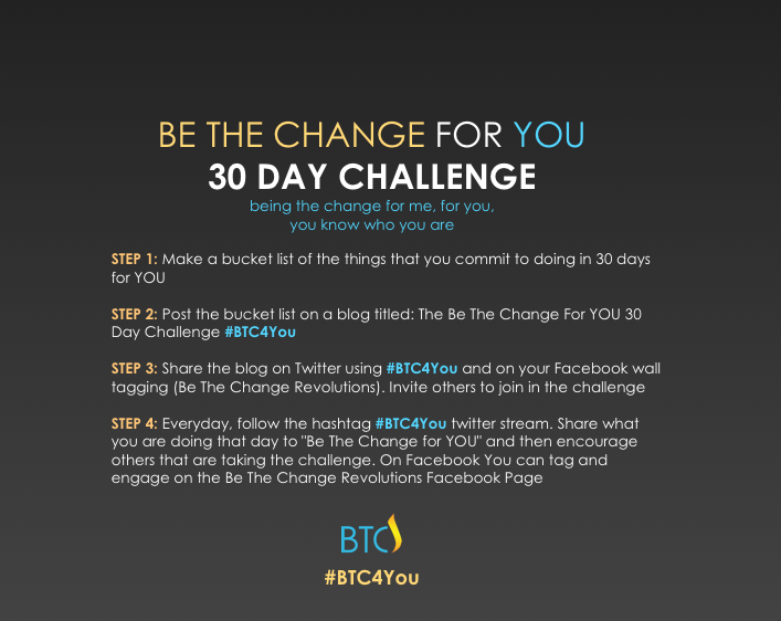 Headline for The Be The Change for YOU Challenge. #BTC4You