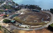 The beautiful Galle stadium in Sri Lanka wrecked after the tsumani hit.