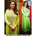 Madhuri Dixit Net & Silk Machine Work Green Semi Stitched Bollywood Style Suit - 1095