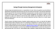 Decision Software Systems For Hospital Inventory Management
