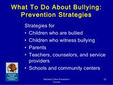 What to do about bullying: Prevention strategies