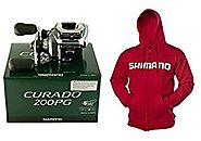 Bundle - Shimano Curado 200PG CI-200IPG 5.5:1 Right Handed Baitcasting Fishing Reel and Red Shimano Hoodie