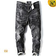 CWMALLS® Classic Black Ripped Jeans CW107009
