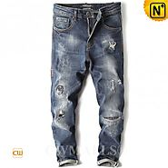 CWMALLS® Designer Ripped Tapered Jeans CW107006