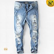 CWMALLS® Designer Tapered Ripped Jeans CW107001