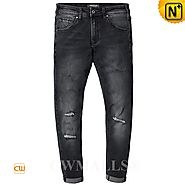 CWMALLS® Omaha Mens Black Ripped Jeans CW107023