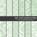 Mint Julep Damask Digital Papers 8.5x11 Personal or Commercial Use