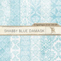 Shabby Blue Damask Digital Paper, Damask Digital Paper, Damask Scrapbook Paper, Digital Damask, Damask Pattern, Insta...